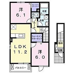 広島県東広島市黒瀬切田が丘2丁目の賃貸アパートの間取り