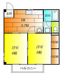 大阪府羽曳野市西浦5丁目の賃貸アパートの間取り