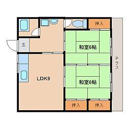 近鉄天理線 前栽駅 徒歩6分の賃貸マンション 1階2LDKの間取り