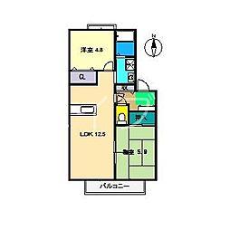 ラ・ベルターナ2 B棟[1階]の間取り