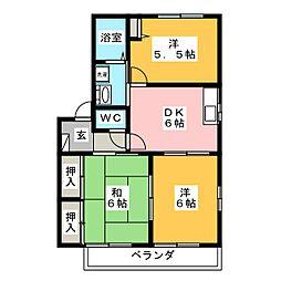 愛知県岡崎市下和田町字北浦の賃貸アパートの間取り
