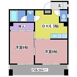 西新町マンション[4階]の間取り