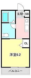 ブルースカイ横須賀 3階1Kの間取り