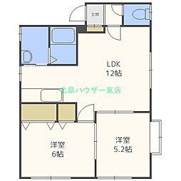 北海道札幌市東区伏古一条3丁目の賃貸アパートの間取り