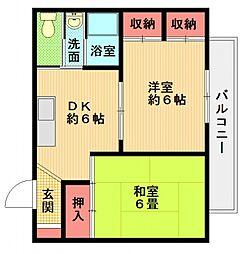 ポプラーハイツ名山荘[302号室号室]の間取り