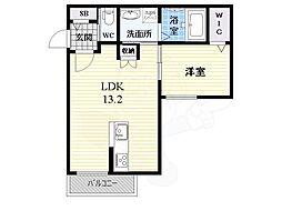 ル・ココン二番館 1階1LDKの間取り
