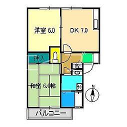 エステート六泉寺 A棟[2階]の間取り