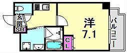 Ulysses新神戸 6階1Kの間取り