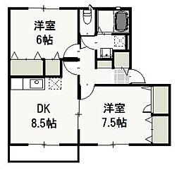 岡山県岡山市北区白石東新町の賃貸アパートの間取り