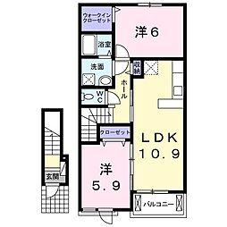 相田6丁目アパートT[0202号室]の間取り