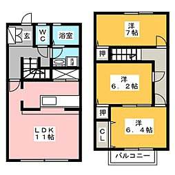 [テラスハウス] 愛知県半田市宮本町4丁目 の賃貸【愛知県 / 半田市】の間取り