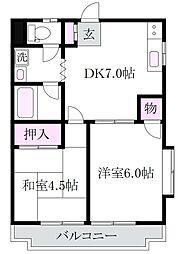 東京都杉並区上井草2丁目の賃貸マンションの間取り