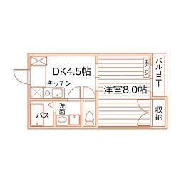 岡山県倉敷市中庄の賃貸マンションの間取り
