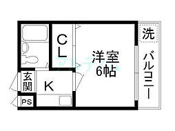 プレジデント河合[5階]の間取り