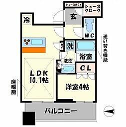 パークタワー北浜 9階1LDKの間取り