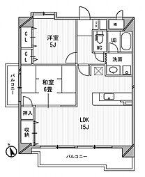 日宝サンフラッツ東平[601号室号室]の間取り