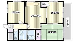 鶴見緑地ハイツ弐番館[2A号室]の間取り