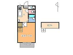 栃木県宇都宮市八千代2丁目の賃貸アパートの間取り