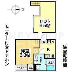 愛知県名古屋市瑞穂区惣作町2丁目の賃貸アパートの間取り