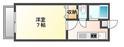 JR赤穂線 西川原駅 徒歩8分の賃貸アパート 1階1Kの間取り