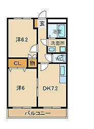 兵庫県姫路市飾磨区構2丁目の賃貸マンションの間取り
