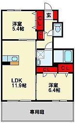 シャーメゾン畠田II[102号室]の間取り