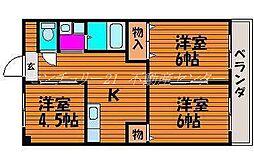 岡山県岡山市北区十日市西町の賃貸マンションの間取り