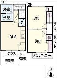 メゾンド・アムA棟[2階]の間取り