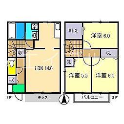 [テラスハウス] 高知県高知市万々 の賃貸【高知県 / 高知市】の間取り