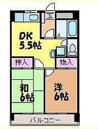 愛媛県松山市朝生田町6丁目の賃貸マンションの間取り