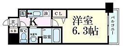 プレサンス淡路駅前 2階1Kの間取り