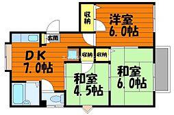 岡山県倉敷市日吉町丁目なしの賃貸アパートの間取り