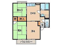 セジュール木ノ本[2階]の間取り