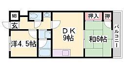 ビラ名谷D棟[1階]の間取り