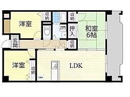 北大阪急行電鉄 桃山台駅 徒歩9分の賃貸マンション 6階3LDKの間取り