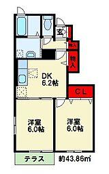 JR鹿児島本線 遠賀川駅 3.6kmの賃貸アパート 1階2DKの間取り
