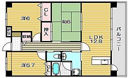 レルシール南茨木[4階]の間取り
