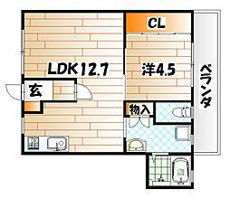 富田ハイツ[3階]の間取り