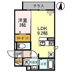 クレアージュ玉井 1階1LDKの間取り