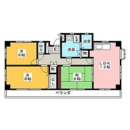 メゾン鶴里[3階]の間取り