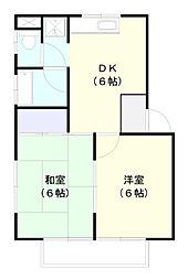 岬ハイツ 2階2DKの間取り