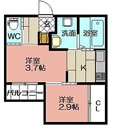 SMILEAX博多駅東[102号室]の間取り