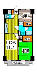 モンシャトー川口[4階]の間取り