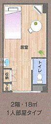 モアノーブル久宝寺 2階ワンルームの間取り