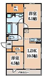 D-room六万寺町[2階]の間取り