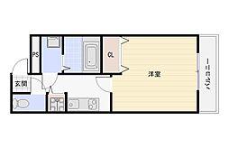 大阪府大阪市平野区加美北6丁目の賃貸アパートの間取り