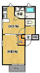 兵庫県神戸市兵庫区東山町2丁目の賃貸アパートの間取り