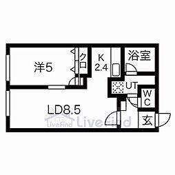 札幌市営東西線 白石駅 徒歩6分の賃貸マンション 1階1LDKの間取り