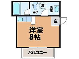 愛媛県松山市桑原4丁目の賃貸アパートの間取り