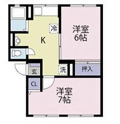 シティハイムイワサキA[2階]の間取り